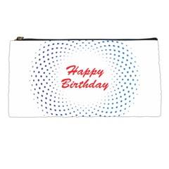 Halftone Circle With Squares Pencil Case