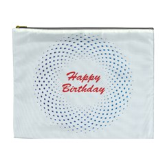 Halftone Circle With Squares Cosmetic Bag (xl)