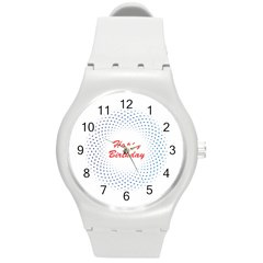 Halftone Circle With Squares Plastic Sport Watch (medium)