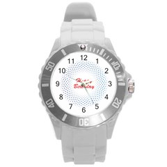 Halftone Circle With Squares Plastic Sport Watch (Large)