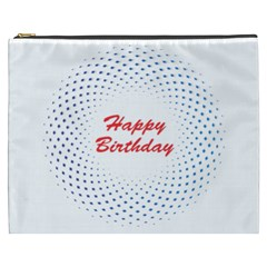 Halftone Circle With Squares Cosmetic Bag (XXXL)