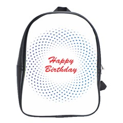 Halftone Circle With Squares School Bag (xl)