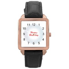 Halftone Circle With Squares Rose Gold Leather Watch