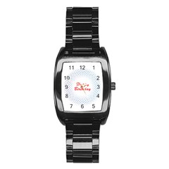 Halftone Circle With Squares Stainless Steel Barrel Watch