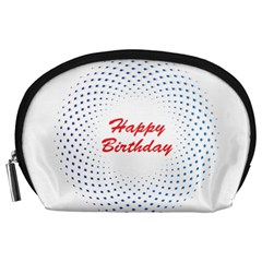 Halftone Circle With Squares Accessory Pouch (large)