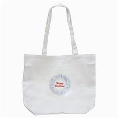 Halftone Circle With Squares Tote Bag (White)