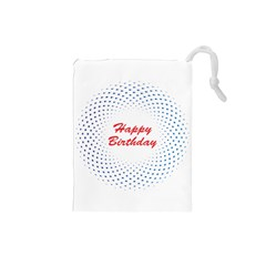 Halftone Circle With Squares Drawstring Pouch (small)