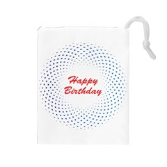 Halftone Circle With Squares Drawstring Pouch (Large)