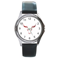 Stylized Symbol Red Bull Icon Design Round Leather Watch (silver Rim)