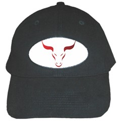 Stylized Symbol Red Bull Icon Design Black Baseball Cap
