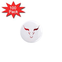 Stylized Symbol Red Bull Icon Design 1  Mini Button Magnet (100 Pack)