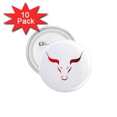 Stylized Symbol Red Bull Icon Design 1.75  Button (10 pack)