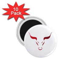 Stylized Symbol Red Bull Icon Design 1 75  Button Magnet (10 Pack)