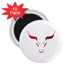 Stylized Symbol Red Bull Icon Design 2 25  Button Magnet (10 Pack)
