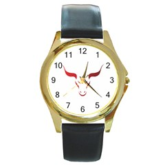 Stylized Symbol Red Bull Icon Design Round Leather Watch (gold Rim)