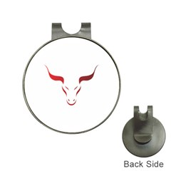 Stylized Symbol Red Bull Icon Design Hat Clip with Golf Ball Marker