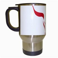 Stylized Symbol Red Bull Icon Design Travel Mug (White)