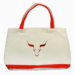 Stylized Symbol Red Bull Icon Design Classic Tote Bag (Red)