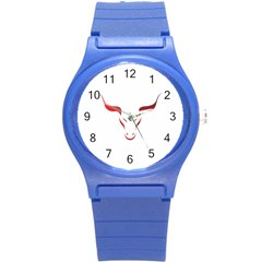 Stylized Symbol Red Bull Icon Design Plastic Sport Watch (Small)