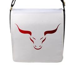 Stylized Symbol Red Bull Icon Design Flap Closure Messenger Bag (large)