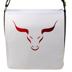 Stylized Symbol Red Bull Icon Design Flap Closure Messenger Bag (small)