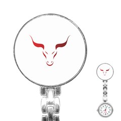 Stylized Symbol Red Bull Icon Design Stainless Steel Nurses Watch