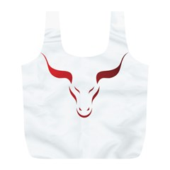 Stylized Symbol Red Bull Icon Design Reusable Bag (L)