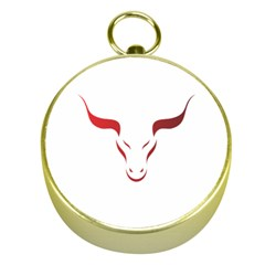 Stylized Symbol Red Bull Icon Design Gold Compass
