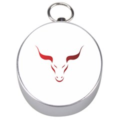 Stylized Symbol Red Bull Icon Design Silver Compass