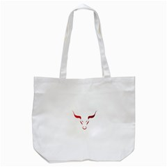 Stylized Symbol Red Bull Icon Design Tote Bag (White)