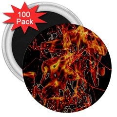On Fire 3  Button Magnet (100 pack)