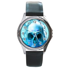 Skull In Water Round Leather Watch (silver Rim)