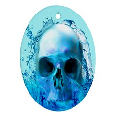 Skull In Water Oval Ornament