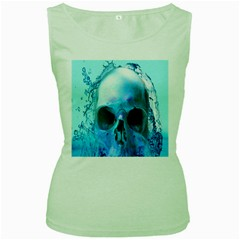 Skull In Water Women s Tank Top (green)