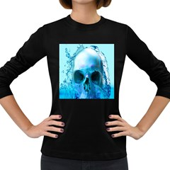 Skull In Water Women s Long Sleeve T-shirt (Dark Colored)