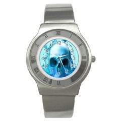 Skull In Water Stainless Steel Watch (slim)