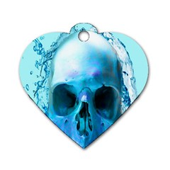 Skull In Water Dog Tag Heart (One Sided)