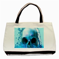 Skull In Water Twin-sided Black Tote Bag