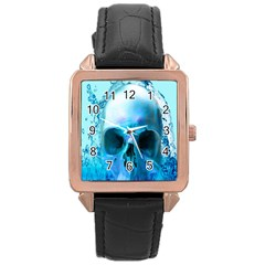 Skull In Water Rose Gold Leather Watch
