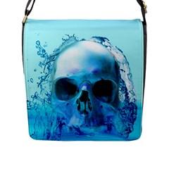 Skull In Water Flap Closure Messenger Bag (large)