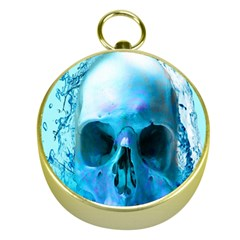 Skull In Water Gold Compass
