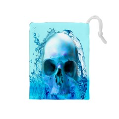 Skull In Water Drawstring Pouch (Medium)