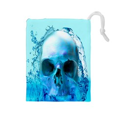 Skull In Water Drawstring Pouch (Large)