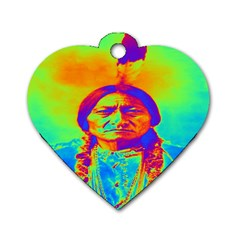 Sitting Bull Dog Tag Heart (One Sided)