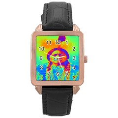 Sitting Bull Rose Gold Leather Watch