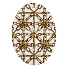 Chain Pattern Collage Oval Ornament (two Sides)