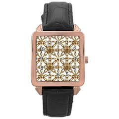 Chain Pattern Collage Rose Gold Leather Watch