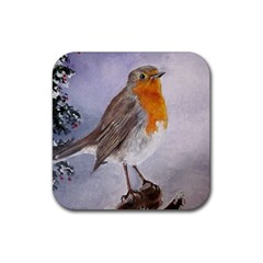 Robin On Log Drink Coasters 4 Pack (square)