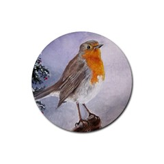 Robin On Log Drink Coasters 4 Pack (round)
