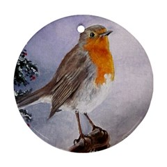 Robin On Log Round Ornament (Two Sides)